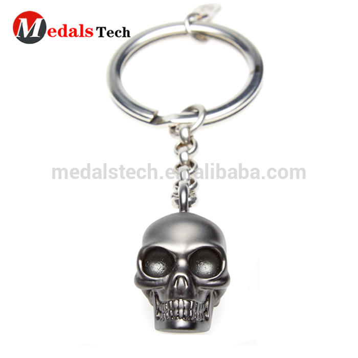 High quality custom design 3d plated black nickle metal skull shape keychain