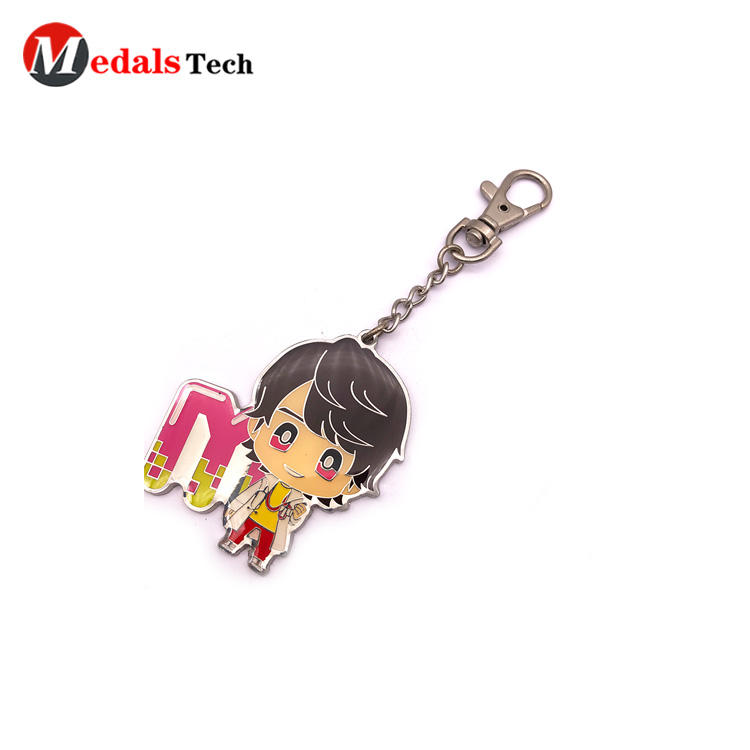 Cheap epoxy anime character dog hook keychain with sandblast backside finish