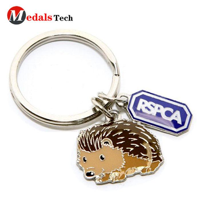 Cute animal shape key chain,cheap custom quality metal hedgehog keychain