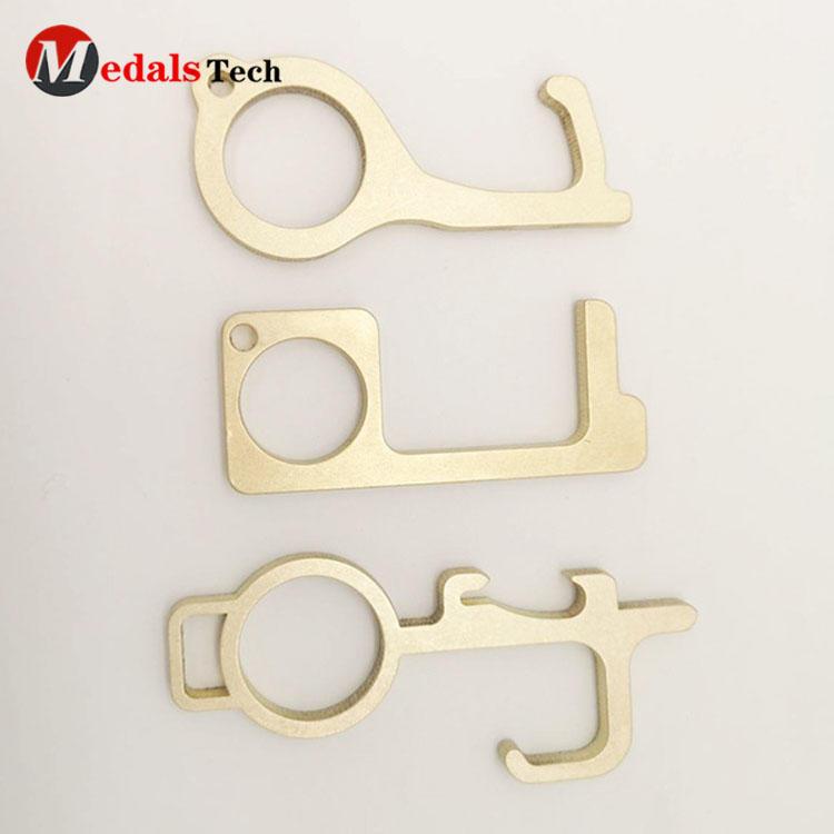 EDC Brass contactless helper elevator door opener keychain