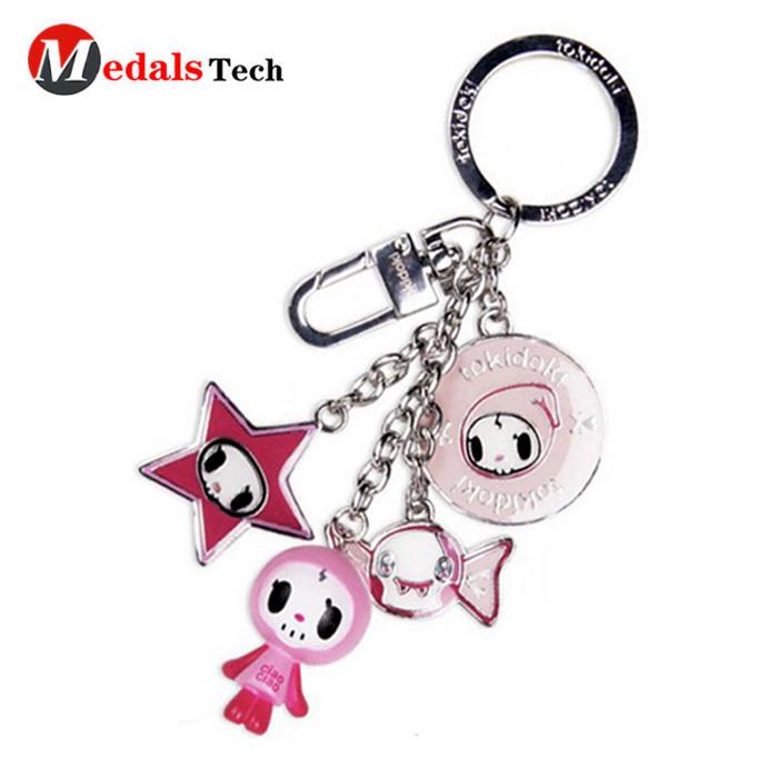 High quality customletters shape round metal souvenir keychain