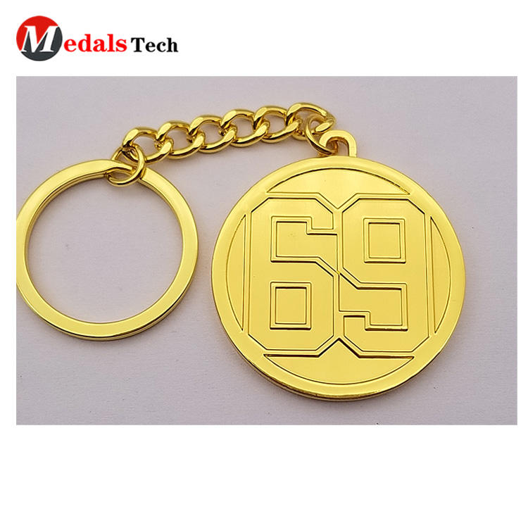 Cheap shinny gold zinc alloy souvenir gift metal keychain