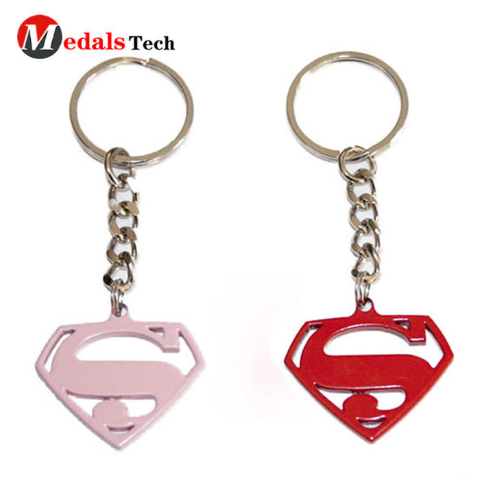 Customspray red and pink metal super hero keychain for sale