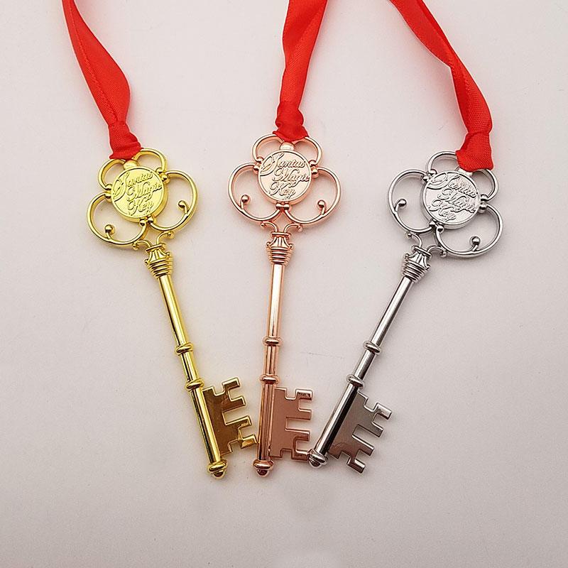 Decoration accessories Silver Gold Copper Shiny Christmas Santa's Magic Key with Ribbon