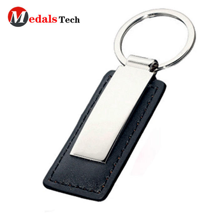 Low price customized metal make leather car keychain