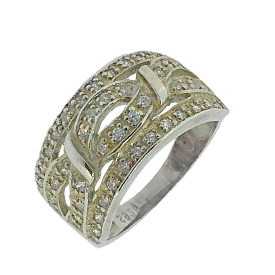Simple Hollow Silver Artificial Diamond Tat Ring