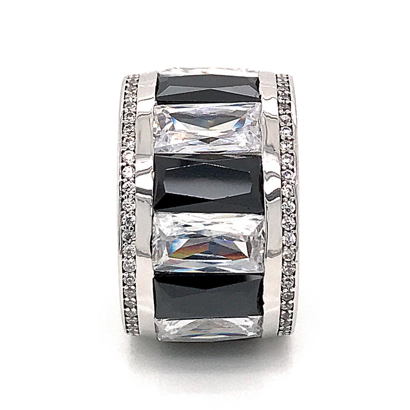 Entire Ring Wide Sterling Silver 925 Jewellery Engrave With Cz
