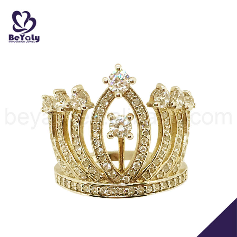 Fashion cz crown silver king and queen rings