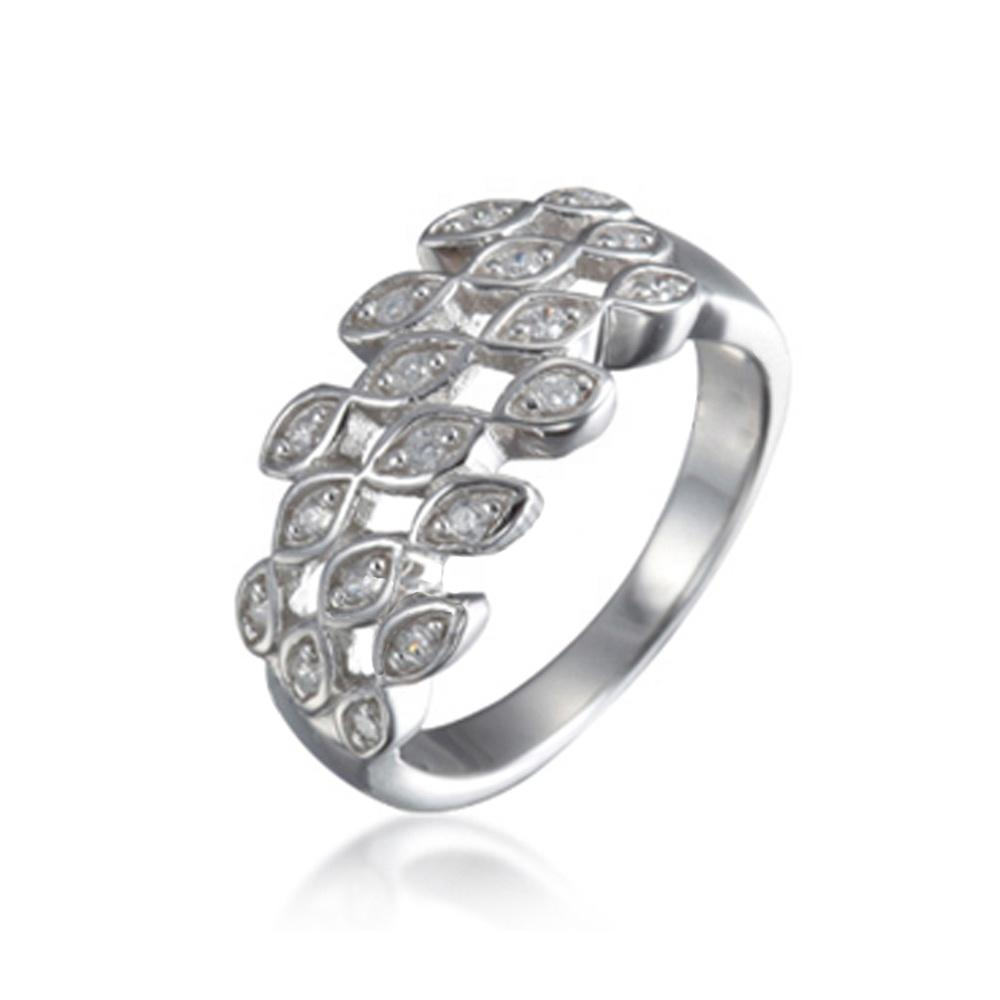 Half Ring Pave Silver Pure Diamond Jewelry With Cz