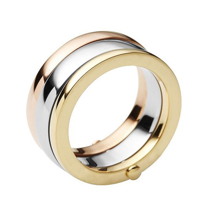 925 silver three stacking gold plate ring
