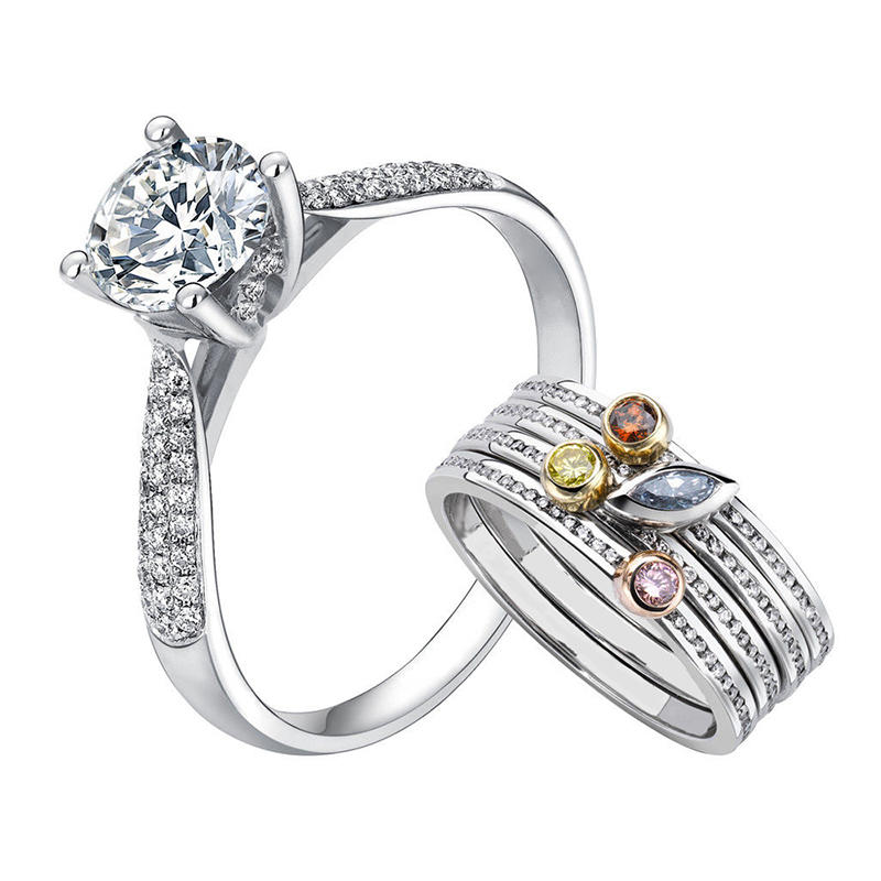 925 Silver Wedding Stacking Cz Multi Finger Ring Couple Set