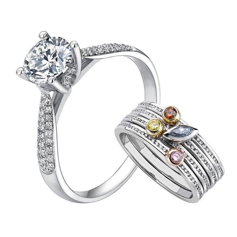 925 Silver Wedding Stacking Cz Multi Finger Ring Couple Set