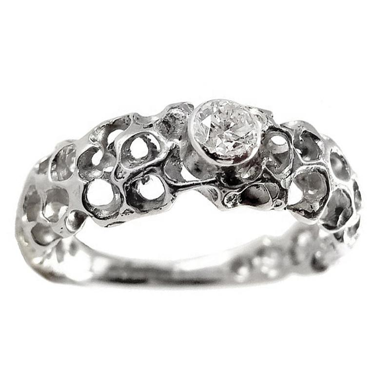 Shiny Beauty 14K Gold Jewelry 925 Sterling Silver Ring