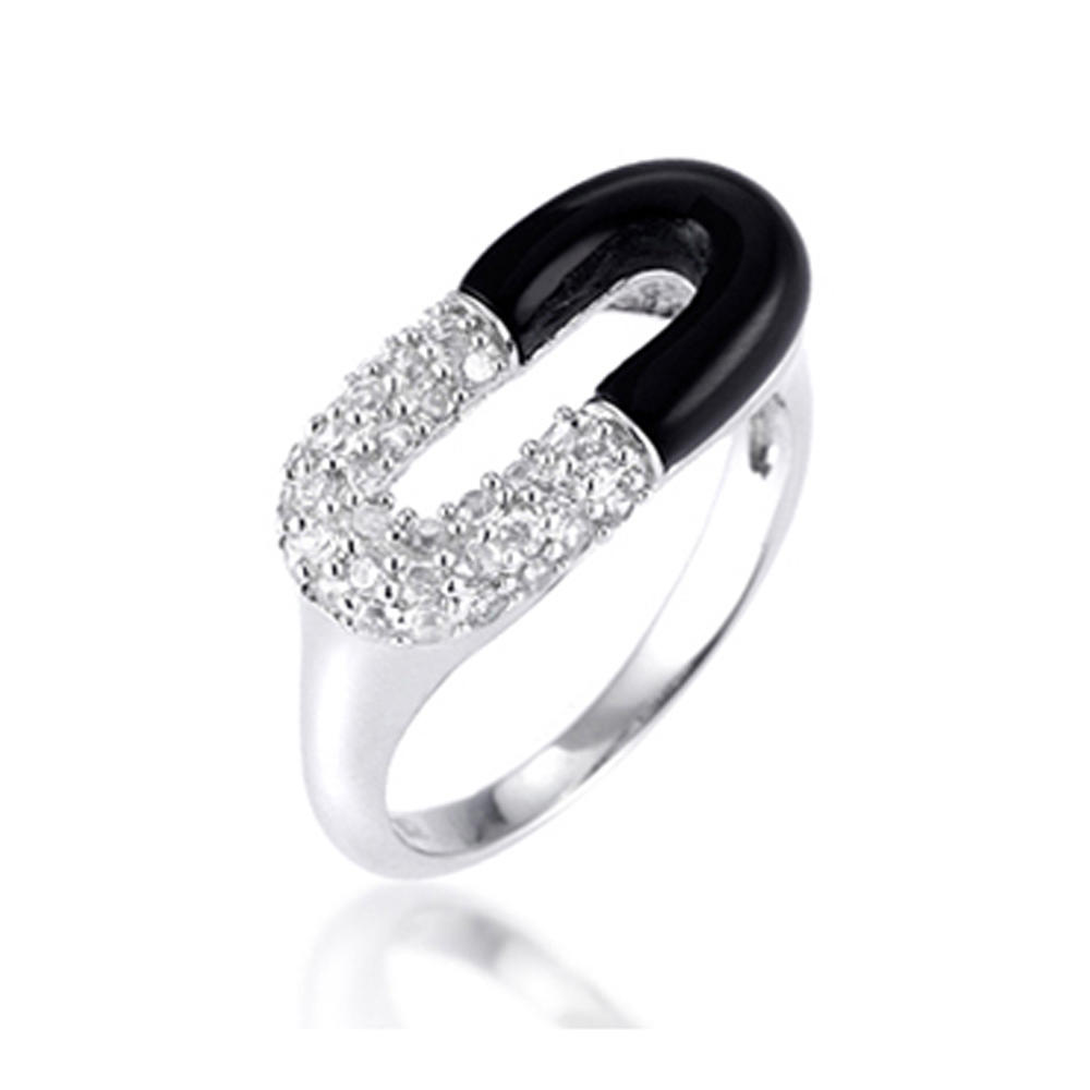 Cheap Black Enamel White Cz Horseshoe Rings Sterling Silver 925