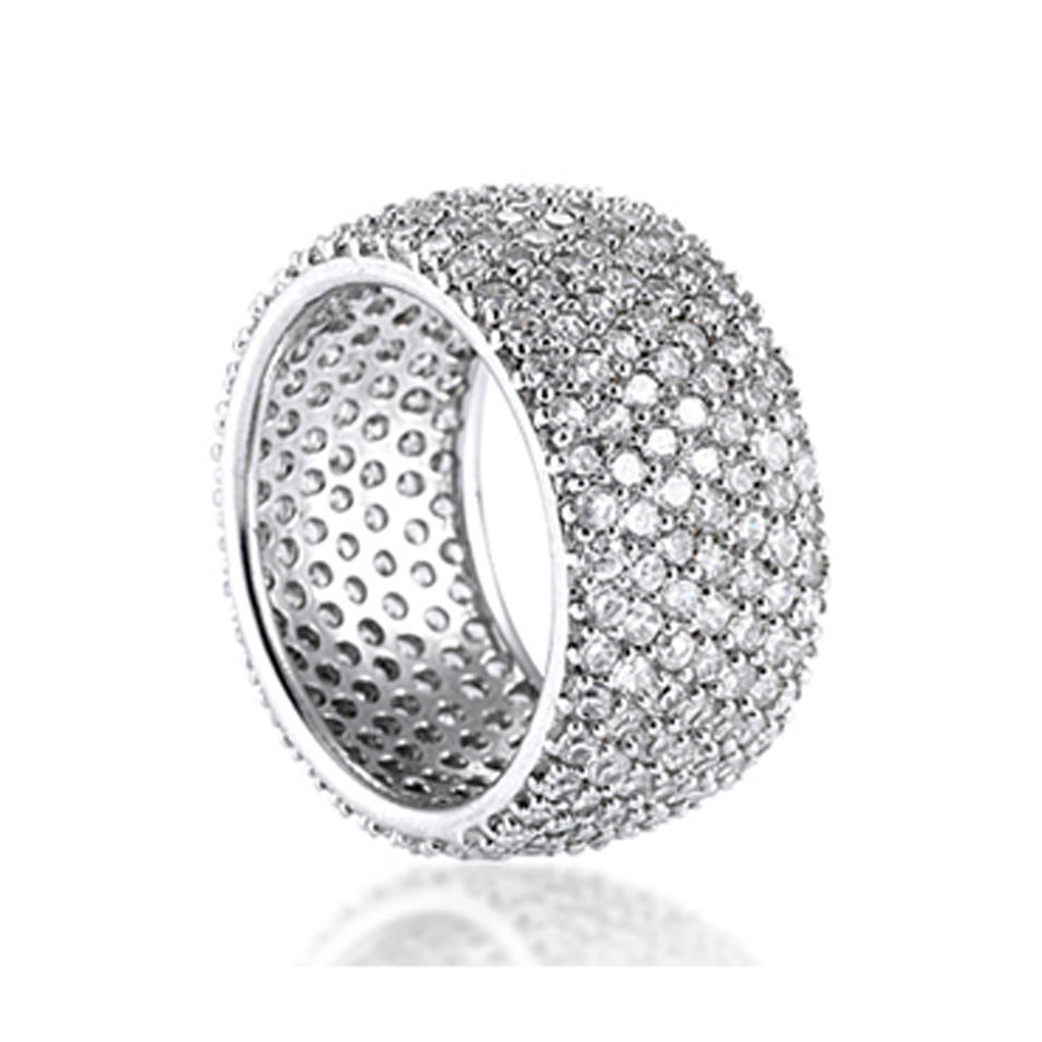 Wholesale wide size women clear cubic zircon paved ring