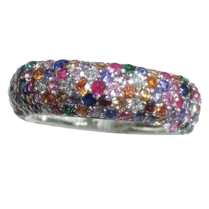 Beautiful Silver Multi Color Artificial Diamond Cock Ring
