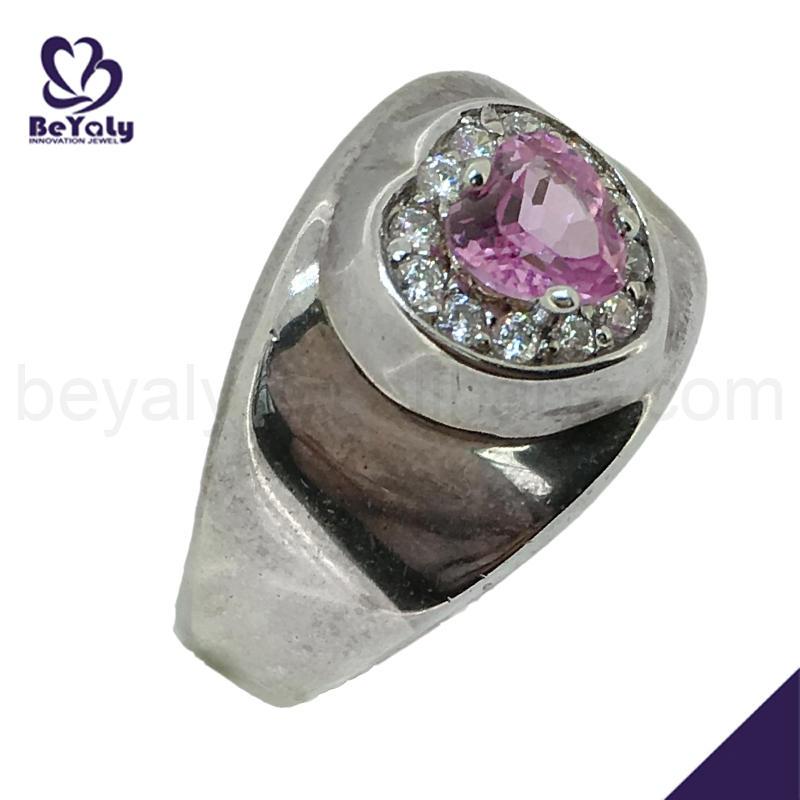 Anniversary pink heart stone 8k diamond engagement ring
