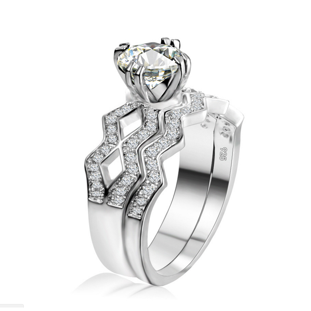 Party Adornment Three Layered Cz Jewelry Silver 925 In Rings