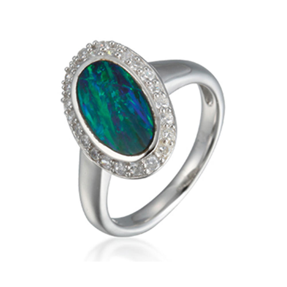 Unique Smart Night Scene Image Ethiopian Opal Silver Rings
