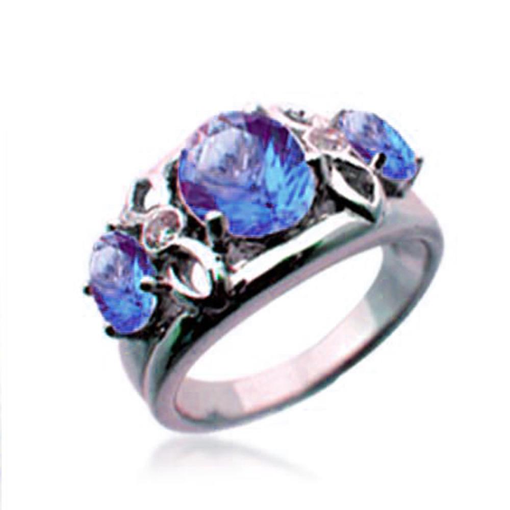 Refine Quality Silver Royal Red Jade Ring, Three Main Tear Stone Ring