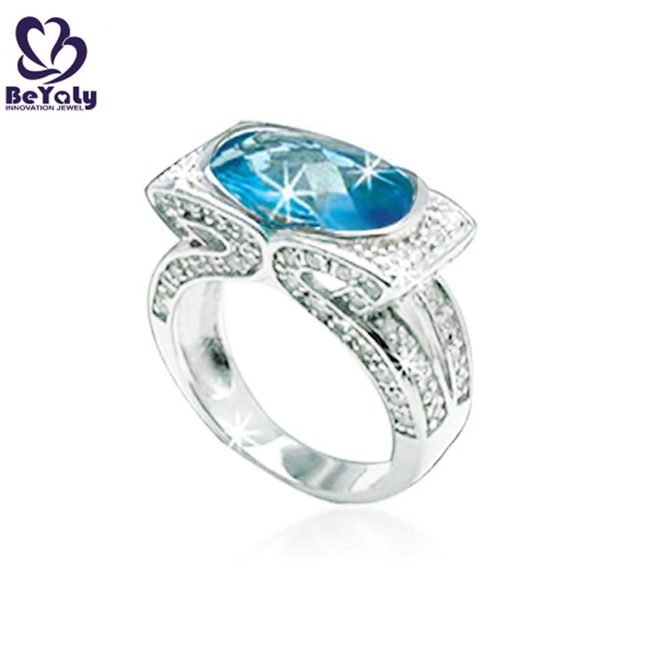 Blue aquamarine latest sliver ladies single stone finger ring designs