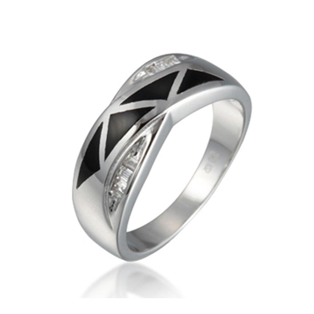 Cheap Black Enamel White Cz Horseshoe Rings Sterling Silver 925
