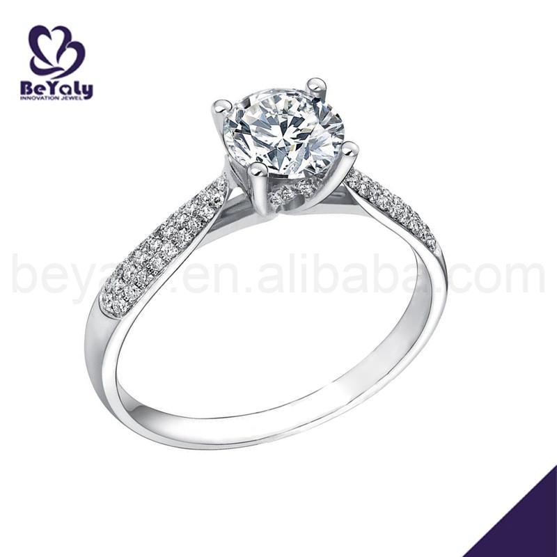 Classic silver wedding artificial gemstone rings