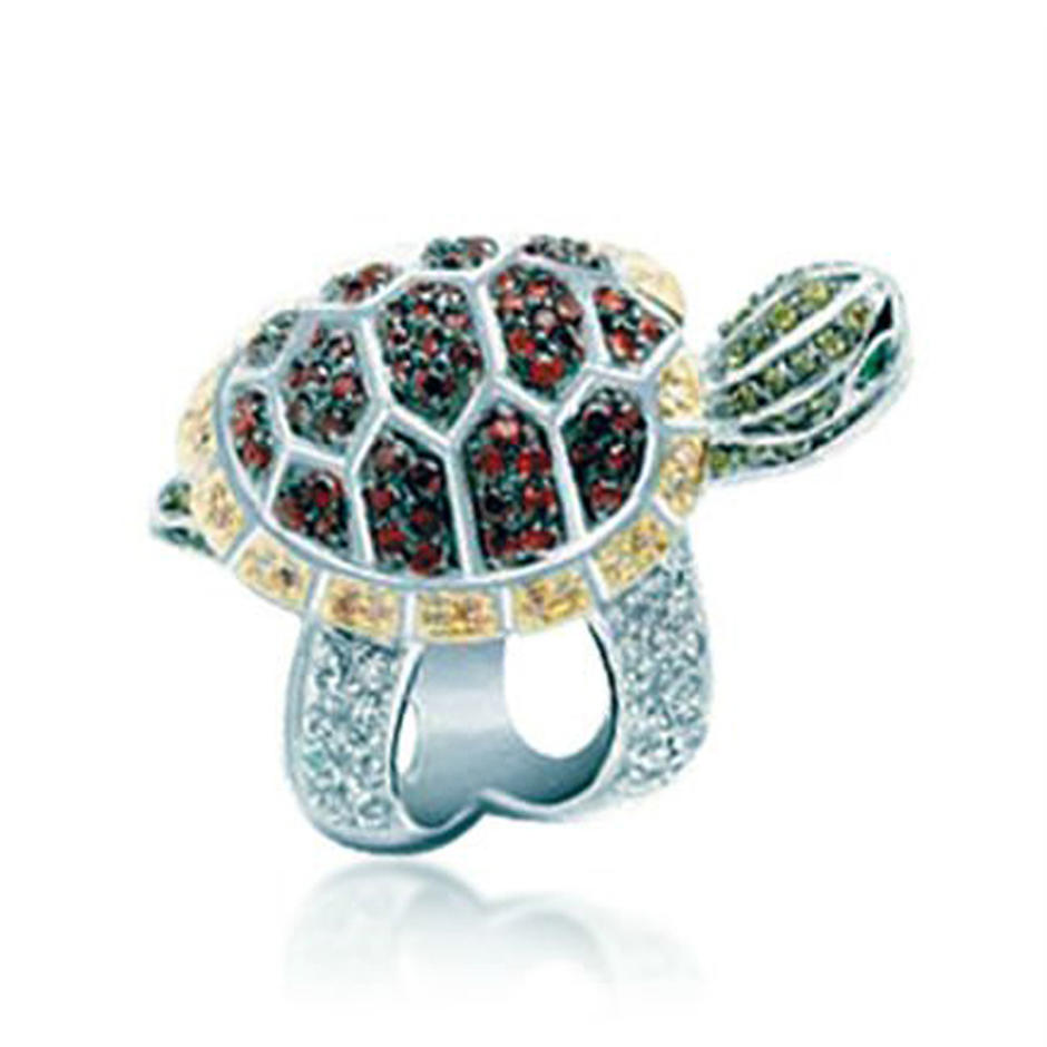 Colored 925 Silver Fashion Plating Gold Tortoise Ring