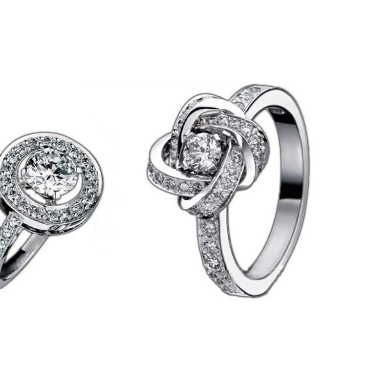 Fashion Trendy Flower Rose Silver Real Gemstone Jewelry