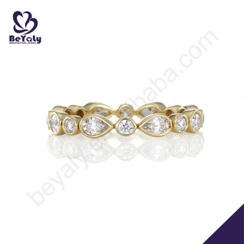 Delicate engagement fashion silver jewelry solid gold