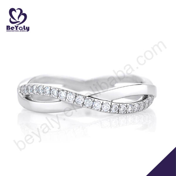 Dazzling silver aaa cz infinity symbol rings