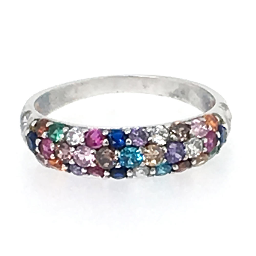 Fashion colorful cz silver cock ring engagement ring