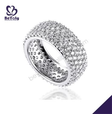 Pave setting aaa cubic zircon 925 cheap jewelry silver