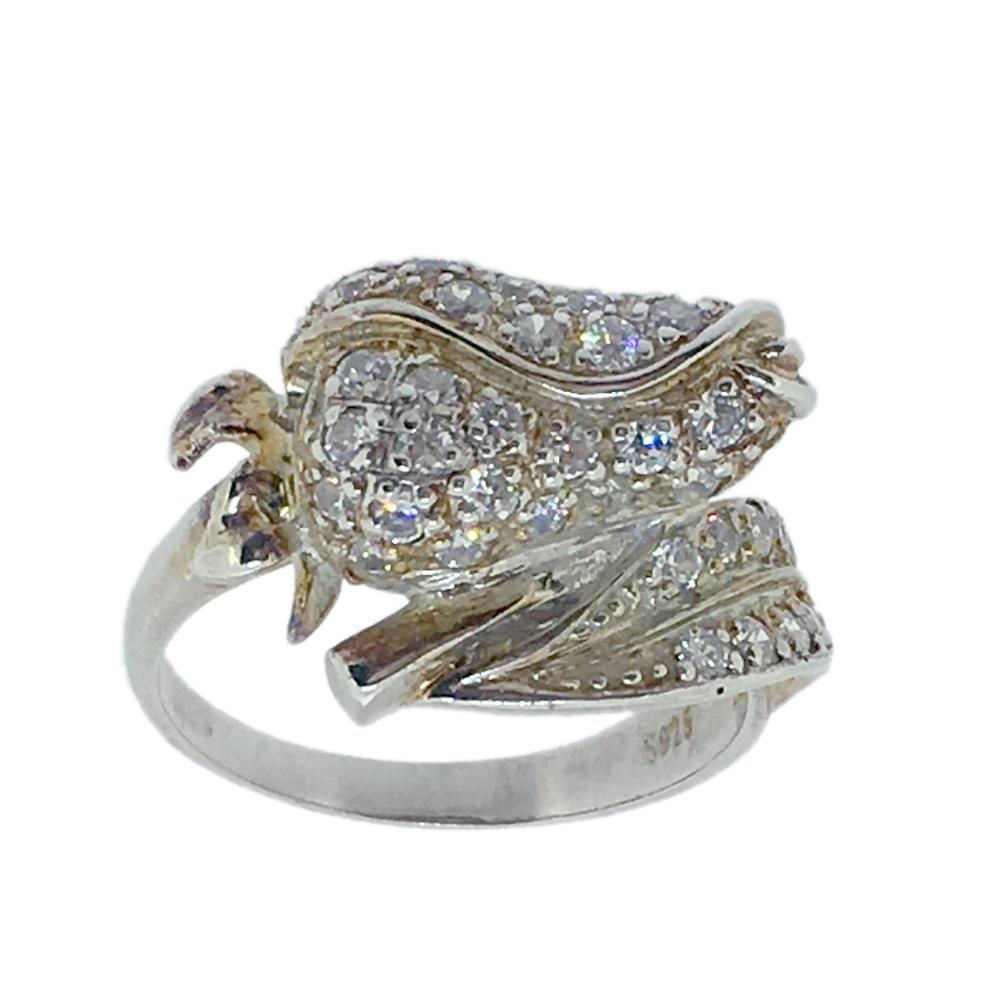 Fancy cz custom design 6925 silver flower ring