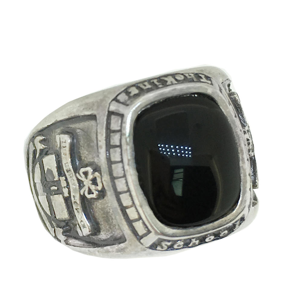 Black stone custom men finger 5925 italy silver jewelry