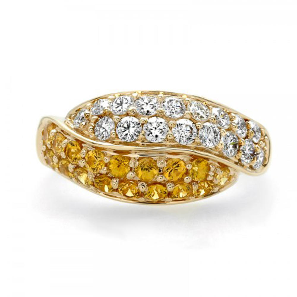 Fashion clear and yellow stone solid gold rings