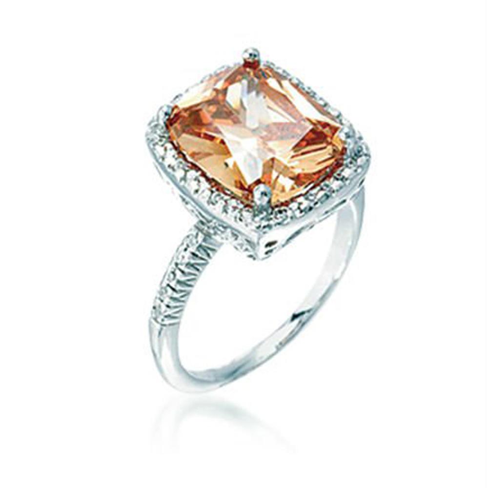 Charming women 925 silver orange amber wedding rings