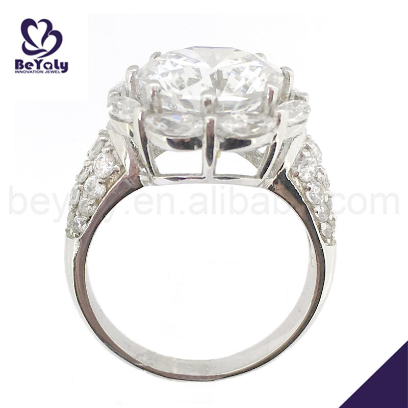 Hot sale pave cz 925 sun silver diamond ring