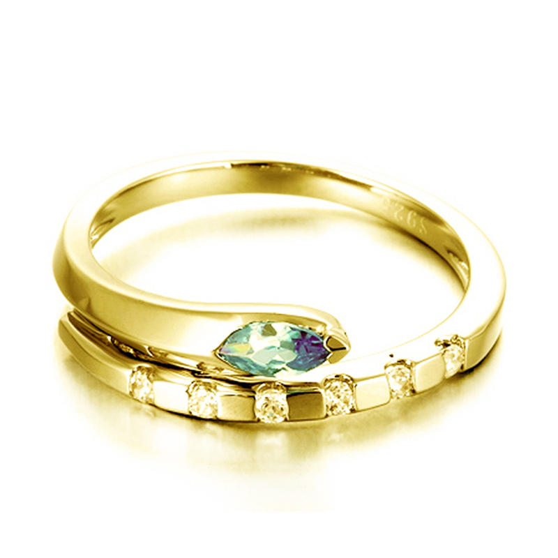 New Hot Sale Blue Stone Cz 5 Gram Gold Ring Snake Design