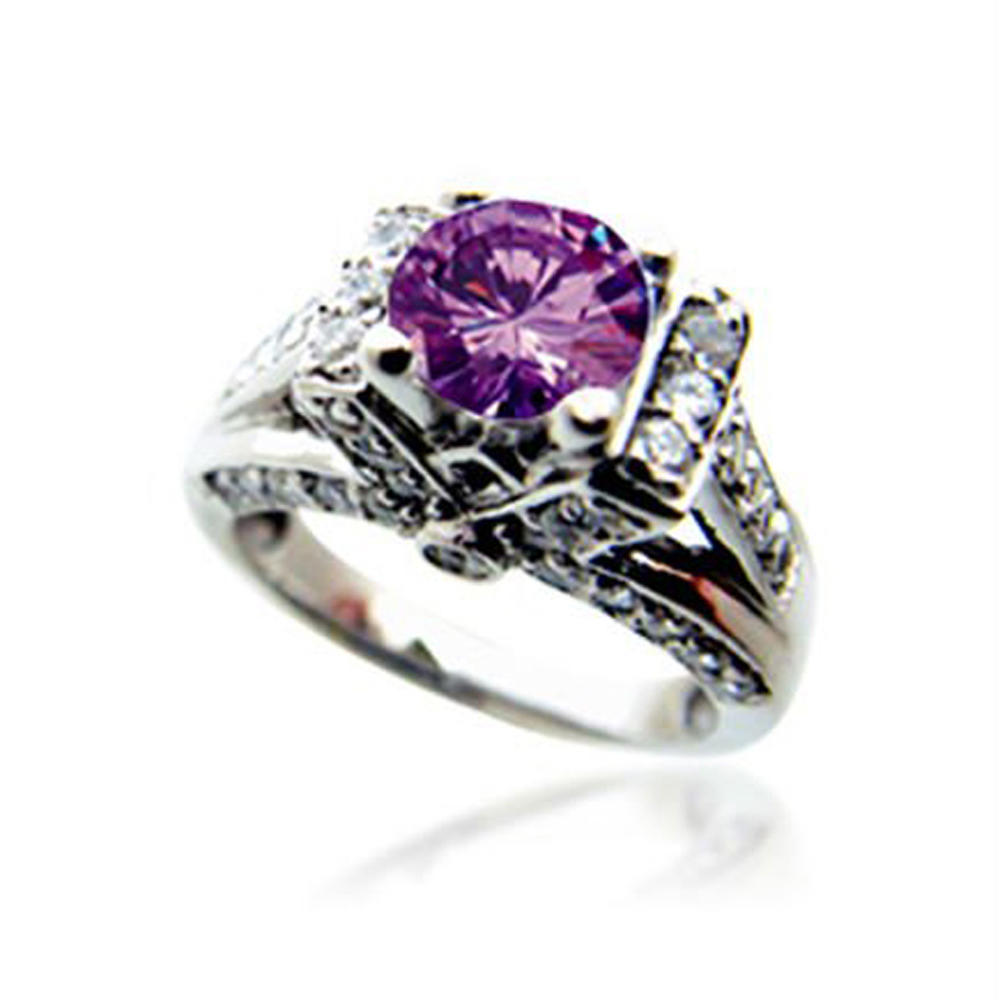 Delicate purple flower shiny silver wedding rings platinum