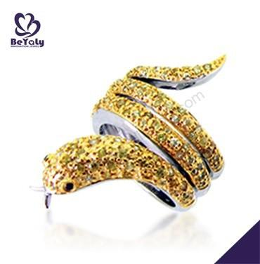 Boutique gold snake design men's sterling silver rings