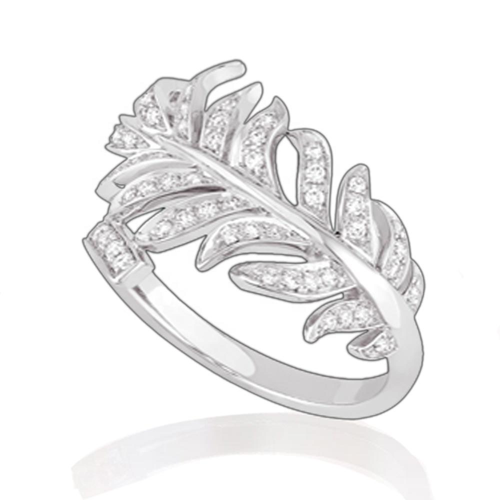 High quality cz inlaid elegant leaf design silver 925 rhodium plated