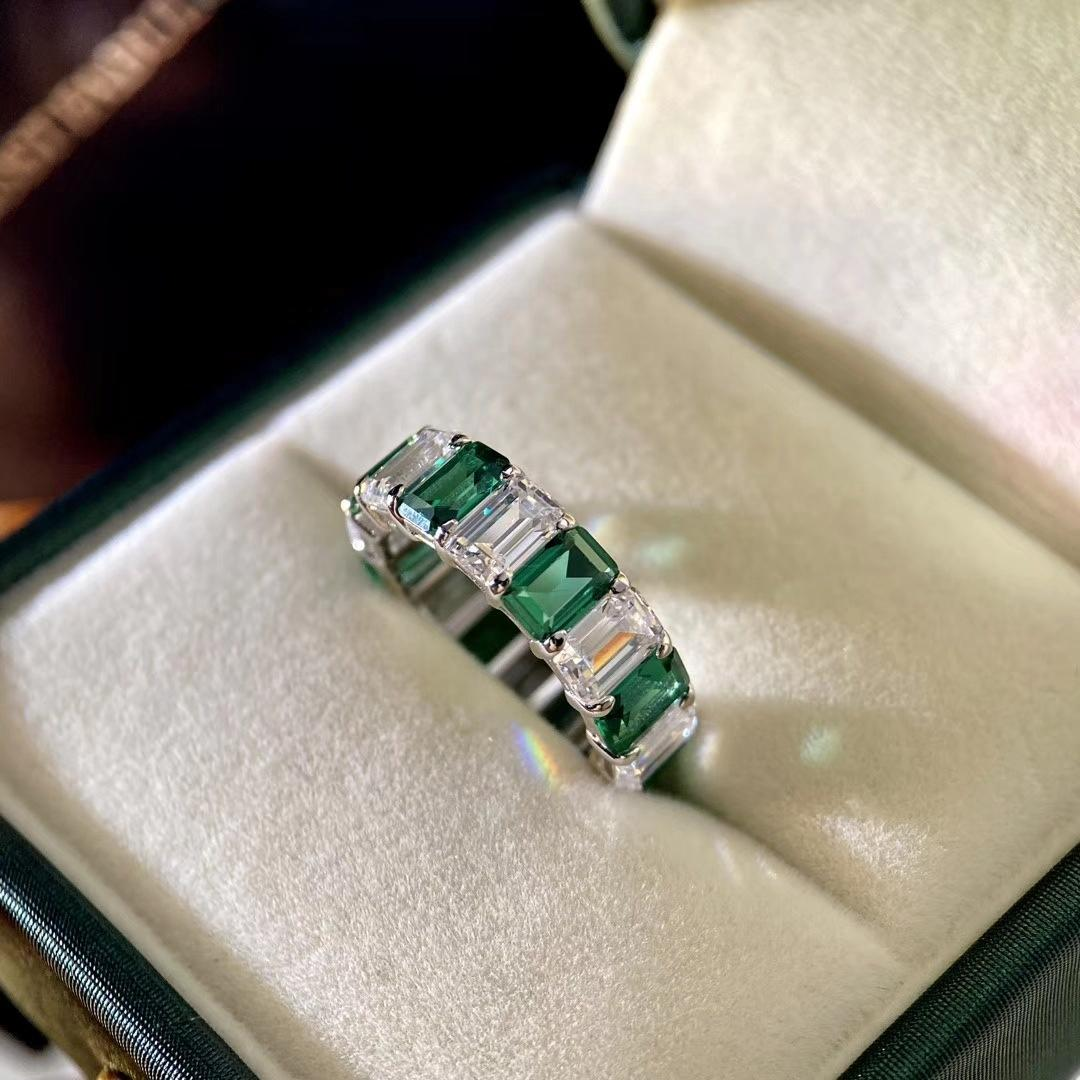 White And Green Zircon Silver Ring Channel Jewelry Imitation Geometric