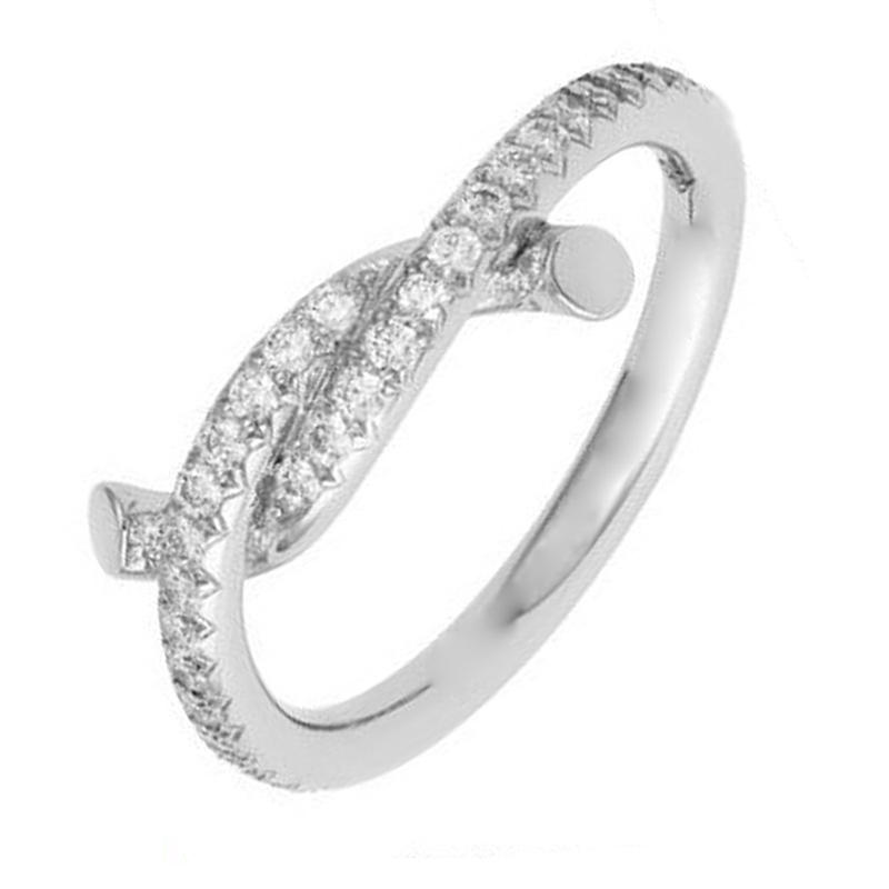 Simple Chic Silver Artificial Taiwan Diamond Ring Twist Design