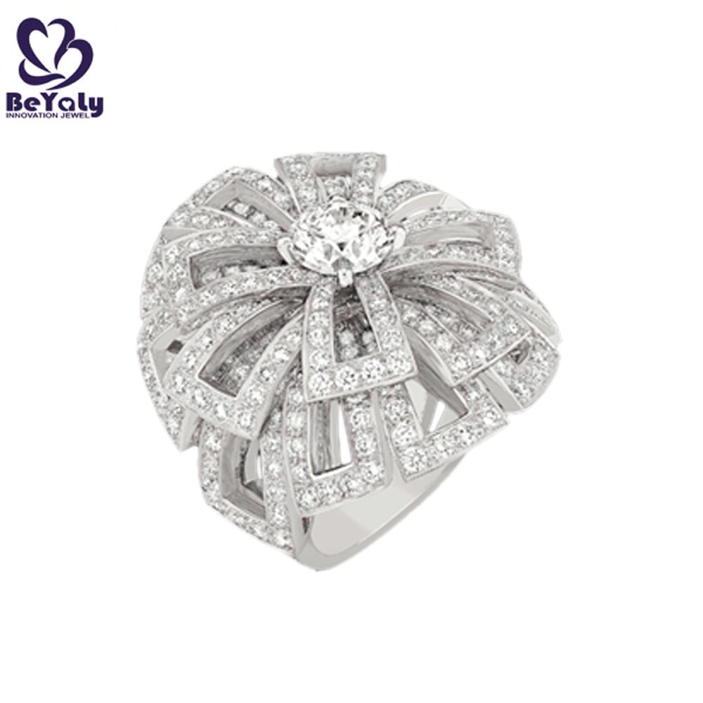 Dazzling flower semi precious stone silver ring wholesale