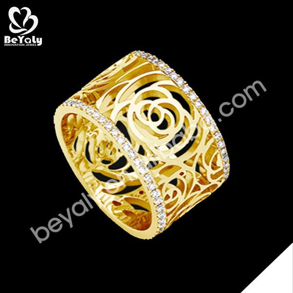 Fashion silver cz hollow flower design fake gold jewelry