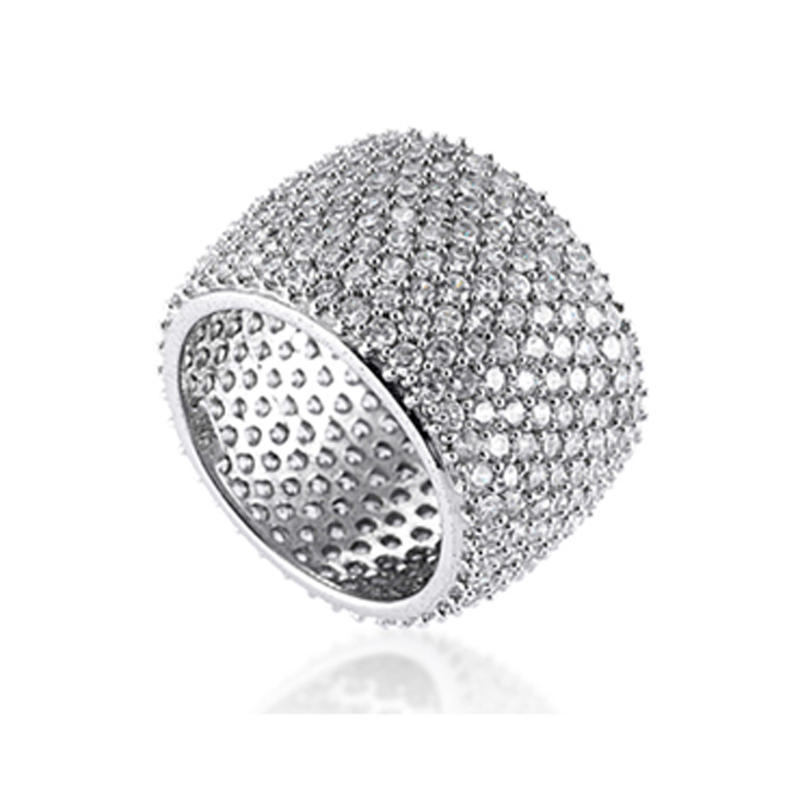 Full Pave Setting Artificial Diamond Anniversary 925 Silver Ring