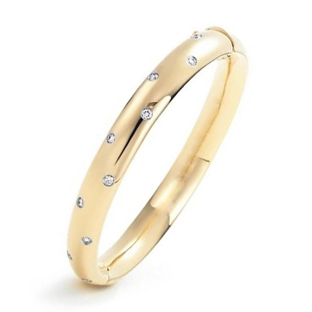 Lovely green cz two tone gold bangles design