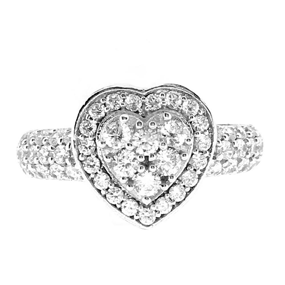 Silver Jewelry Aaa Zircon Heart Wedding 5925 Silver Ring Diamond