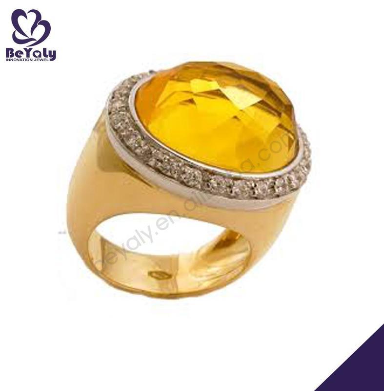 Yellow enamel 925 sterling silver genuine topaz ring